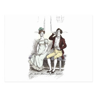 Pride & Prejudice - Darcy sits silently by Mrs. Lo Postcard