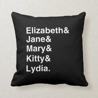 Pride & Prejudice - Girls' Names Pillow (Black)