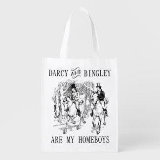 Pride & Prejudice Mr. Darcy & Mr. Bingley tote bag Reusable Grocery Bag