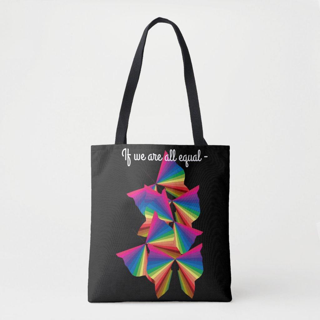 PRIDE Rainbow Butterflies Tote Bags Diversity