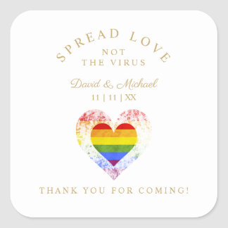 Pride Rainbow Heart Lesbian Gay Wedding Sanitizer Square Sticker