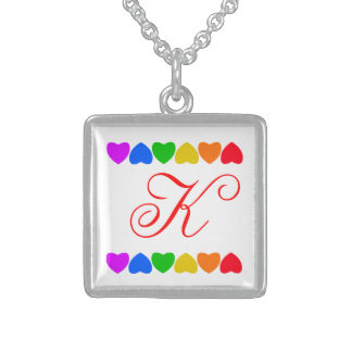 Pride Rainbow Heart Line Square Pendant Necklace