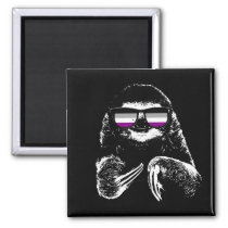 Pride Sloth Asexual Flag Sunglasses Magnet