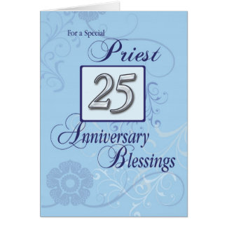 Priest 25th Ordination Anniversary Blue, Silver Card