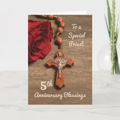 Priest 5th Ordination Anniversary Rose  Rosary Card