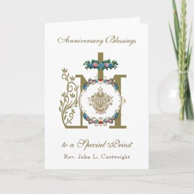 Priest Anniversary Ordination Marian Cross IHS Car Card