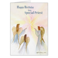 Priest Birthday, Religious Angels Card