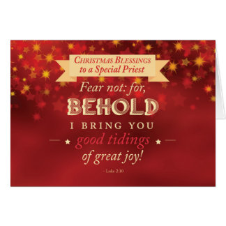 Priest Christmas Blessings Red, Gold Stars Card