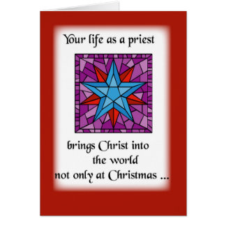 Priest Christmas Star Blue on Red Background Card