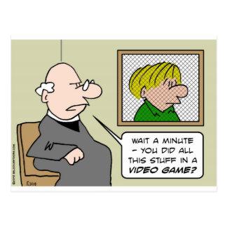 priest confessional video games postcard