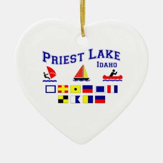 Priest Lake ID Signal Flags Ceramic Ornament