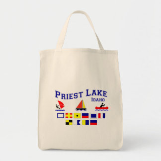 Priest Lake ID Signal Flags Grocery Tote Bag