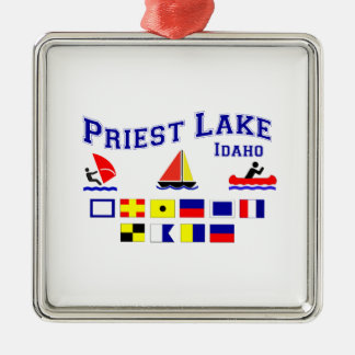 Priest Lake ID Signal Flags Metal Ornament