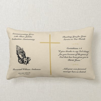 Priest Ordination Anniversary 25th 35th 50th - ANY Lumbar Pillow