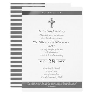 Priest Ordination Anniversary Invitations - Silver