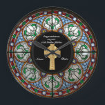 """Priest Ordination Anniversary Stained Glass Cross Large Clock<br><div class=""""desc"""">This item is one of many featured in a collection of gifts for members of the Clergy including Priest, Nun, Pastor, Deacon, Bishop and more. They are for a variety of occasions include newly ordained, ordination anniversary, thank you, birthday, Christmas and more. Many are suitable for various clergy and occasions....</div>"""