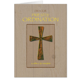 Priest Ordination Congratulations, Metal Cross Greeting Card