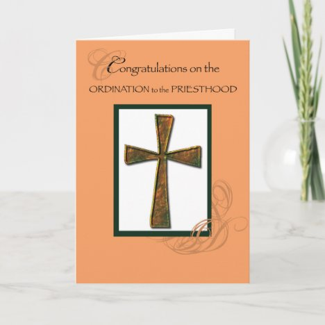 Priest Ordination Congratulations Metallic Cross Card