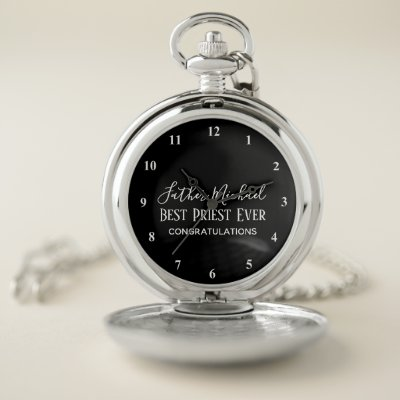 Priest Pastor Clergy Gifts - Simple Personalized Pocket Watch