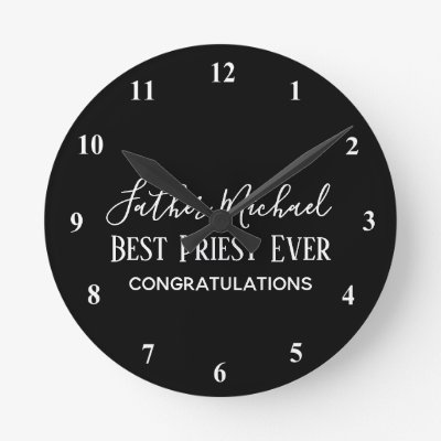 Priest Pastor Clergy Gifts - Simple Personalized Round Clock