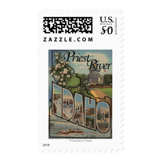 Priest River, Idaho - Large Letter Scenes Postage