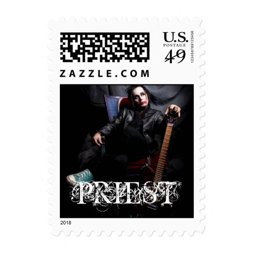 PRIEST SITTING POSTAGE STAMP