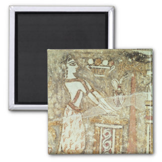Priestess at an altar, detail from a 2 inch square magnet