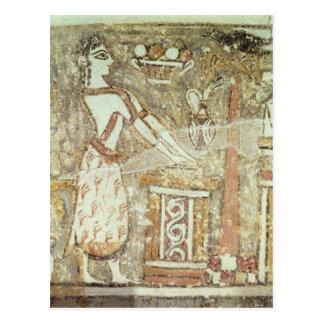 Priestess at an altar, detail from a postcard