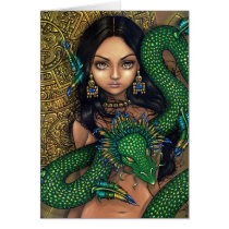art, fantasy, aztec priestess, mayan priestess, aztec, maya, mayan, aztec calendar, calendar, mayan calendar, meso-american, mexico, mexican, quetzalcoatl, feathered, serpent, dragon, snake, carving, ruin, ruins, priestess, pre-hispanic, hispanic, latina, native, native american, feather, feathers, resplendant quetzal, quetzal, bird, skull, skulls, skeleton, skeletons, day of the dead, day, dead, dia de los muertos, Card with custom graphic design