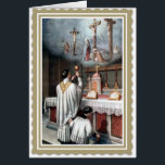"""Priesthood Anniversary  Ordination Jesus Card<br><div class=""""desc"""">Celebrate the Anniversary of Priesthood with this beautiful  image of a Catholic Priest offering Mass at the Altar. The image of Calvary is above the altar.</div>"""