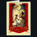 """Priesthood Anniversary Priest Ordination Jesus Card<br><div class=""""desc"""">Celebrate the Anniversary of Priesthood with this beautiful  image of a Catholic Priest offering Mass kneeling at the altar. Jesus is looking on from above.</div>"""
