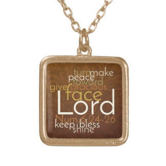 Priestly Blessing on Copper Brown Damask Gold Plated Necklace