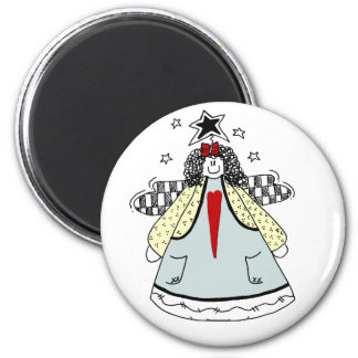 Prim Angel with Heart Country Doodle Magnet