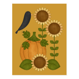 Prim Autumn Crow Pumpkin and Sunflowers Post Cards