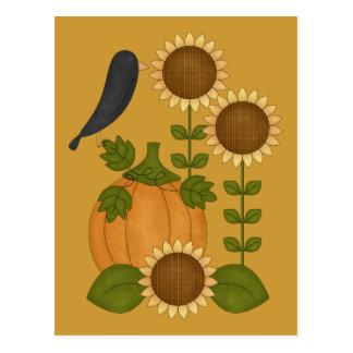 Prim Autumn Crow Pumpkin and Sunflowers Postcard