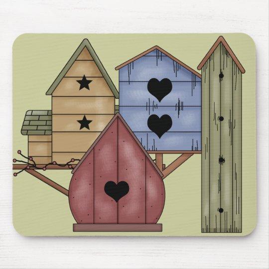 Prim Birdhouse Cluster Mouse Pad