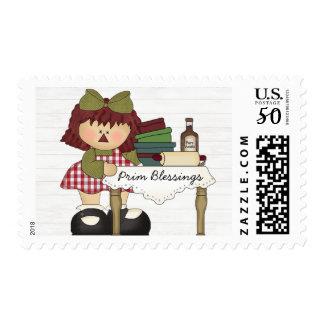 Prim Blessings Primitive Postage Stamp