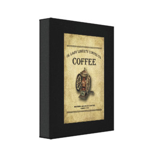 Prim Coffee Print, Old Coffee Sign Wrapped Canvas