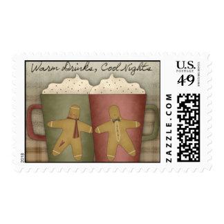 Prim Country Christmas Winter Coffee Mugs Stamp