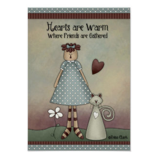 Prim Country Raggedy Ann Doll with Cat Poster