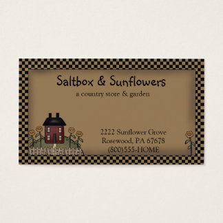 Prim Country Saltbox & Sunflowers Business Card