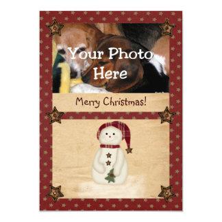 Prim Country Snowman Photo Christmas Card