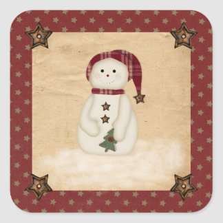 Prim Country Snowman Sticker