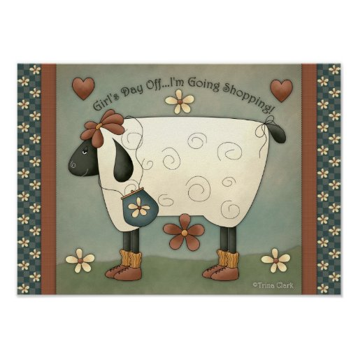 Prim Country Whimsical Sheep Poster