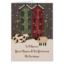 Prim Cow Sheep Great Nephew Girlfriend Christmas Card