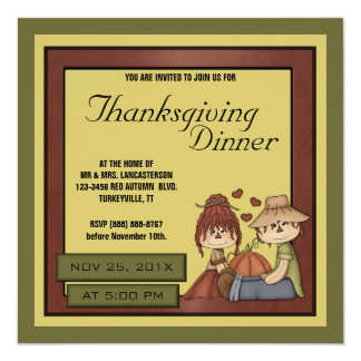 Prim Fall Scarecrow Thanksgiving Dinner Party Card