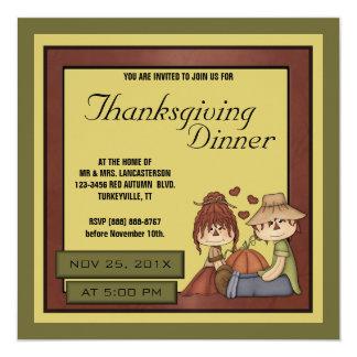 Prim Fall Scarecrow Thanksgiving Dinner Party Custom Invitation