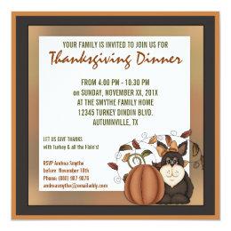 Prim Folkart Autumn Thanksgiving Dinner Party Card