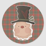 prim gingerbread head with hat stickers