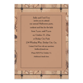 Prim Halloween Patches 2 Woodburned Retro 4.5x6.25 Paper Invitation Card